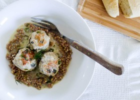 MEATBALLS IN A CREAMY HORSERADISH AND DILL SAUCE WITH BUCKWHEAT