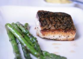 Background Hapuka with asparagus