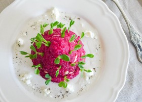 Meatless Monday Beetroot and Pine Nut Risotto with Chevre Dressing