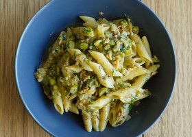 Background penne with smoked salmon and asparagus