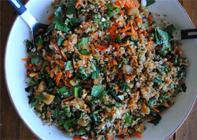 Bulgar, spinach and apricot pilaf thumbnail