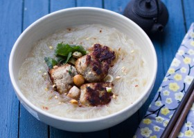 Eggless Pork Meatballs in Rice Noodle Soup