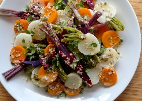 Background heirloom tomato and turnip salad